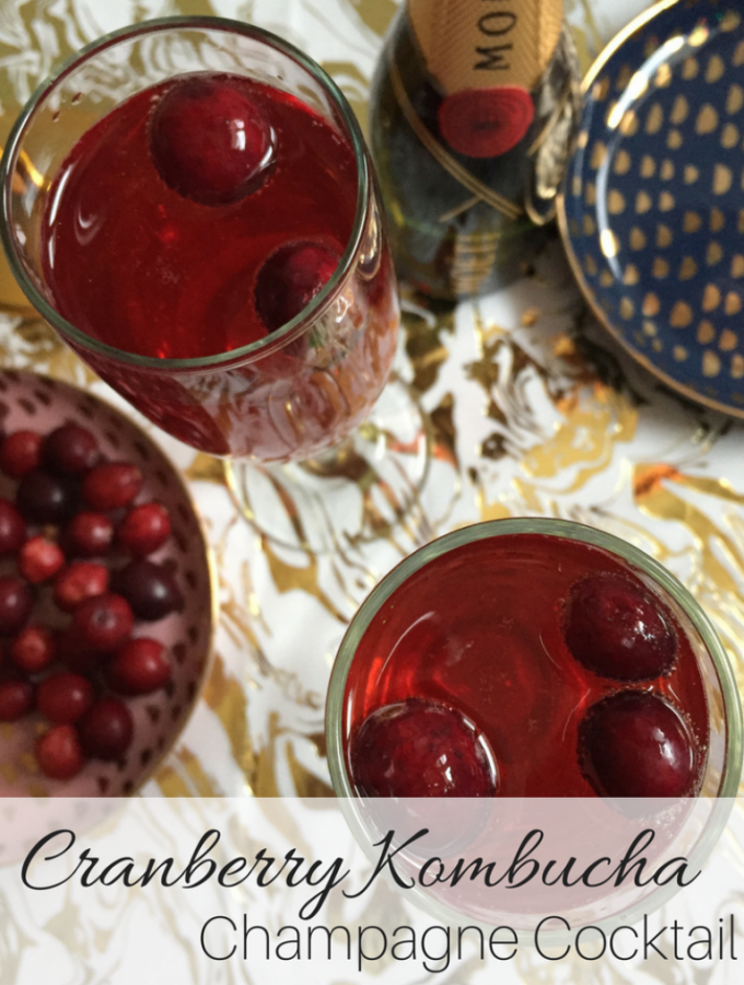 Cranberry Kombucha Champagne Cocktail