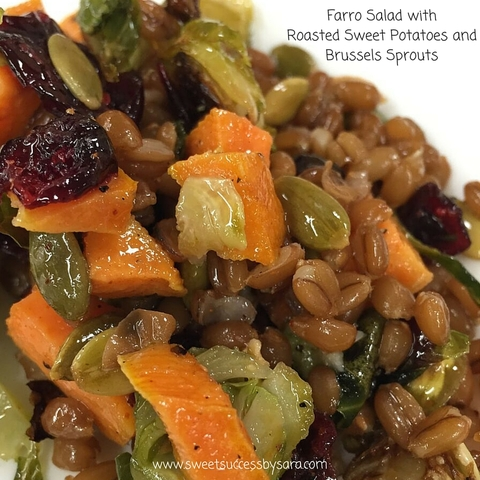 Farro Salad with Roasted Sweet Potato and Brussels Sprouts