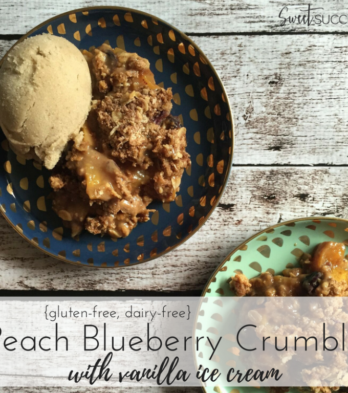 Peach Blueberry Crumble with Vanilla Ice Cream {gluten-free + dairy-free}