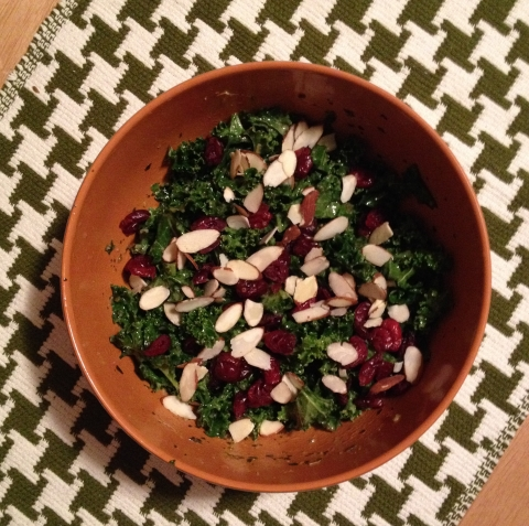 Pesto Caesar Kale Salad with Cranberries and Almonds
